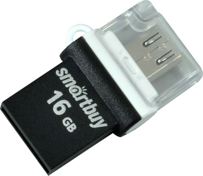 Флэш-память USB Flash 16 Gb SmartBuy OTG POKO series Black