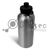 Фляжка алюминиевая 600мл с крышкой для питья, серебряная, для сублимационной печати
