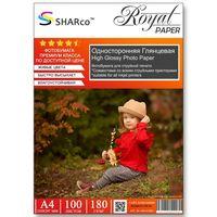Глянцевая фотобумага SHARCO для струйной печати, 180 гр, A4, 100 листов