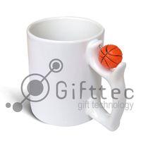 Кружка белая, с  баскетбольным мячиком (для сублимационной печати)