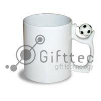 Кружка белая, с футбольным мячиком (для сублимационной печати)