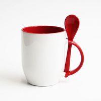 Кружка конусная, цветная внутри с ложкой в ручке (для сублимационной печати) Красная