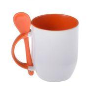 Кружка конусная, цветная внутри с ложкой в ручке (для сублимационной печати) Оранжевая