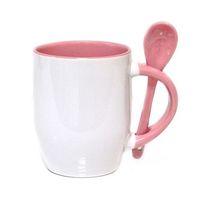 Кружка конусная, цветная внутри с ложкой в ручке (для сублимационной печати) Розовая