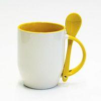 Кружка конусная, цветная внутри с ложкой в ручке (для сублимационной печати) Желтая