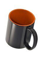 Кружка СТАНДАРТ хамелеон, черная матовая, цветная внутри (для сублимационной печати) оранжевая