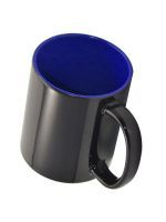 Кружка СТАНДАРТ хамелеон, черная матовая, цветная внутри (для сублимационной печати) синяя