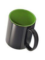 Кружка СТАНДАРТ хамелеон, черная матовая, цветная внутри (для сублимационной печати) зеленая