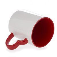 Кружка СТАНДАРТ цветная внутри с цветной ручкой в виде сердца (для сублимационной печати) Красная