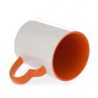 Кружка СТАНДАРТ цветная внутри с цветной ручкой в виде сердца (для сублимационной печати) Оранжевая