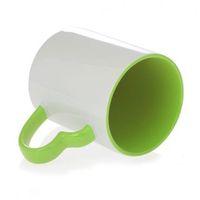 Кружка СТАНДАРТ цветная внутри с цветной ручкой в виде сердца (для сублимационной печати) Зеленая