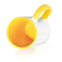 Кружка СТАНДАРТ цветная внутри + цветная ручка (для сублимационной печати) Желтая